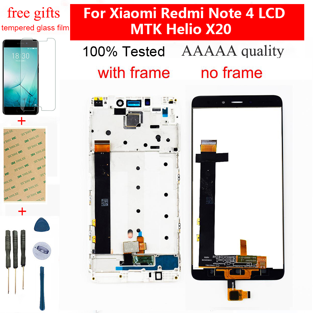 For Xiaomi <font><b>Redmi</b></font> <font><b>Note</b></font> <font><b>4</b></font> LCD Touch <font><b>Screen</b></font> LCD Display Digitizer Module Assembly Frame For <font><b>Redmi</b></font> <font><b>Note</b></font> <font><b>4</b></font> MTK Helio X20 LCD <font><b>Screen</b></font> image