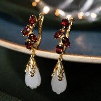 earrings for women fashion jewelry 925 silver Hetian jade Magnolia flower rose gold Sterling silver costume jewelry earrings