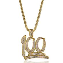 100 Points Pendant & Necklace 18k Gold Plated Lab Diamond Iced Out Chain Bling Fashion Hip Hop Jewelry(China)