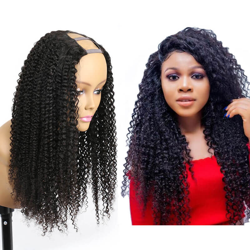 Eseewigs Kinky Curly Human Hair Wigs 2x4 U Part Wigs With Straps Natural Color Brazilian Hair Wig For Black Women