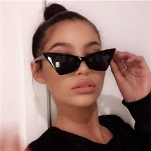 Lunettes de soleil UV400 en plastique pour femmes, monture en œil de chat pointu, mignon, de styliste célèbre, nuances noires, Cool, belles, 2020