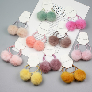 Girls' Winter Colorful Fluffy Ball Pom Pom Hair Tie Band Ponytail Holder Hair Ropes Hair Accessories HT104