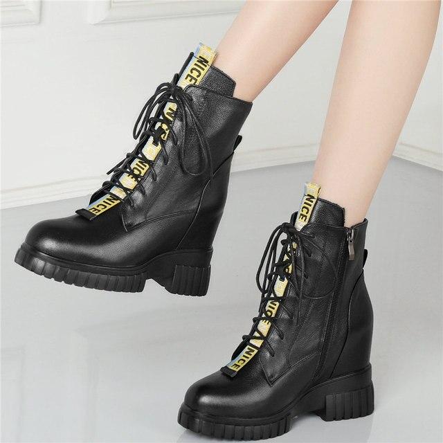 Женские ботильоны со шнуровкой туфли лодочки из натуральной