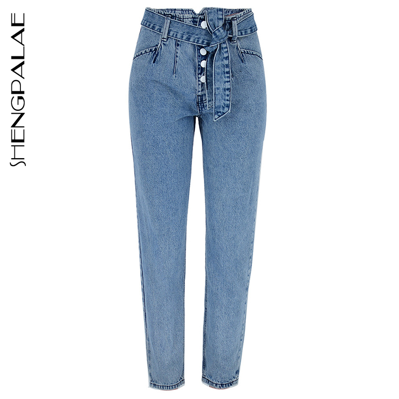SHENGPALAE 2020 New Casual Jeans Woman Long Trousers Cowboy Female High-waisted Breasted With Belt Loose Streetwear  ZA2773