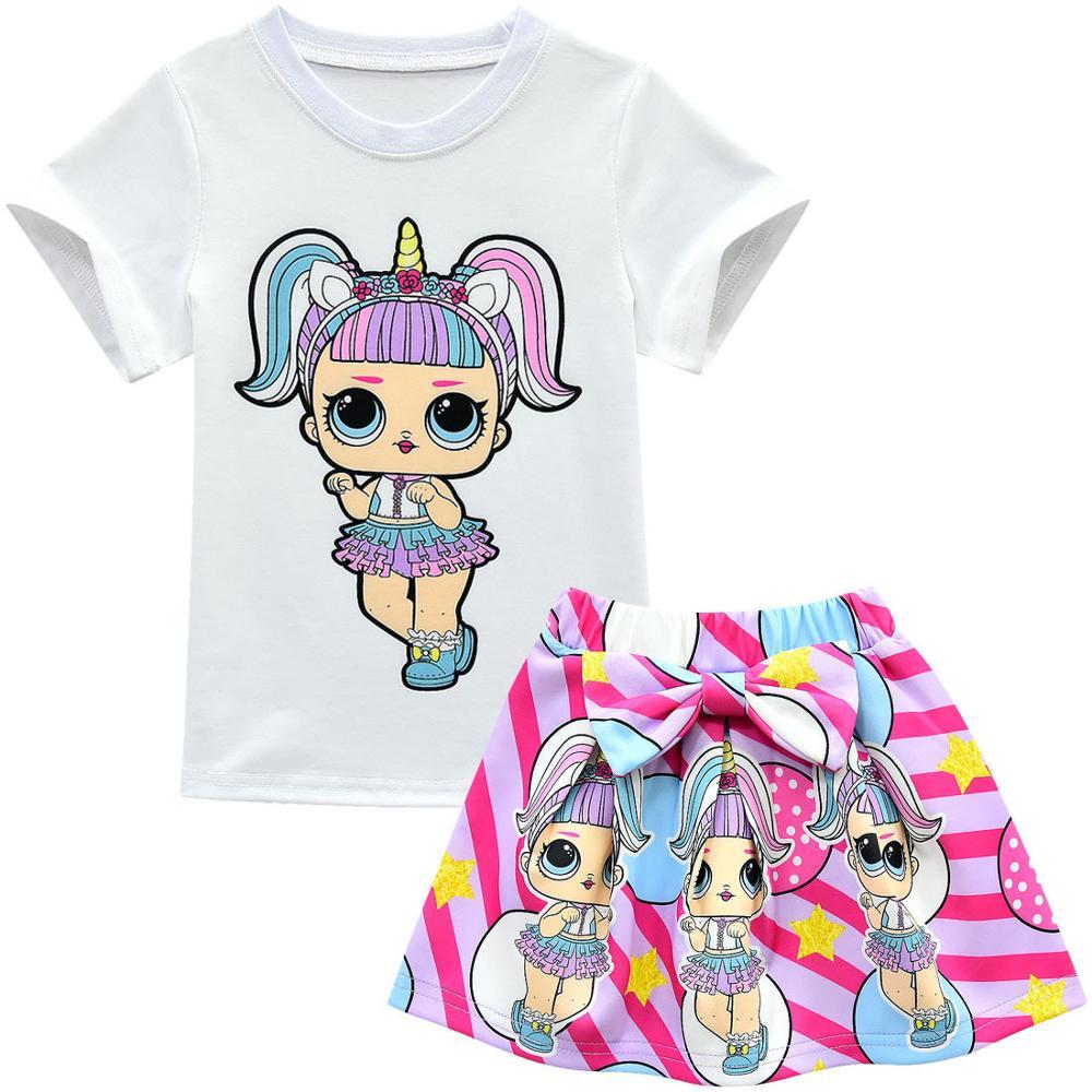 2020 Fashion New Children's Suit Skirt 3-8 Years Old Children's Short-sleeved Pleated Skirt Cartoon Three-piece Suit