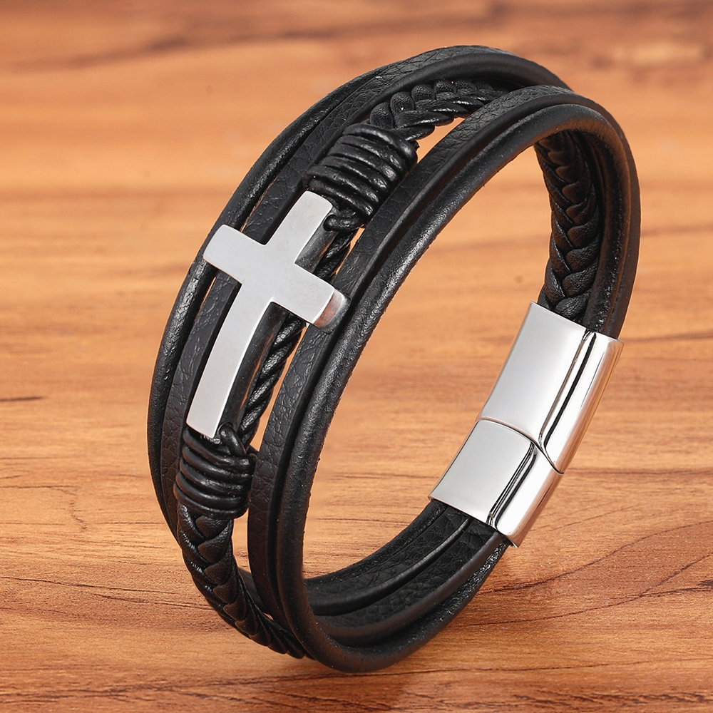 Luxury Multicolor Cross Design Classic Stainless Steel Men's Leather Bracelet 19/21/23 cm Choose Handsome Men's Christmas Gifts