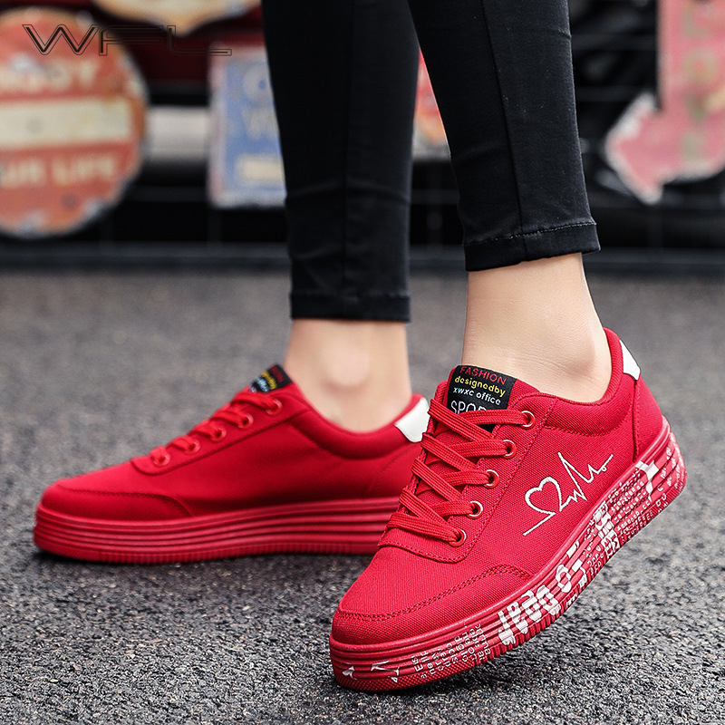 WFL Fashion Women Shoes Men Zapatos Dorados Para Mujer Vulcanized Shoes Lace-up Casual Breathable Canvas Shoes Zapatillas Mujer