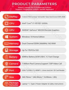 "Image 5 - מקורי Xiaomi Mi מחשב נייד מחברת 15.6 ""Pro משופר i7 10510U 16GB RAM 1TB SSD 100% sRGB Ultra Slim FHD מסך MX250 מחשב"