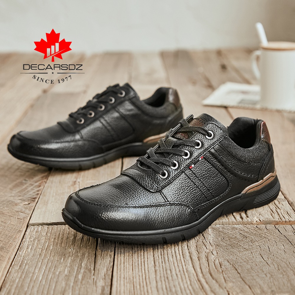 DECARSDZ Men Geunine Leather Shoes Man 2021 Spring Autumn Fashion Comfy Lace-Up Men Shoes High Quality Men Causal Shoes 2