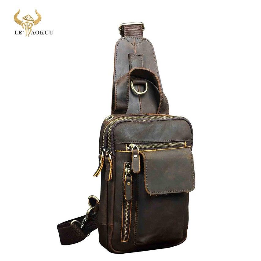 Мужская качественная кожаная модная повседневная нагрудная сумка на ремне, коричневая, 8 дюймов, для планшета, водонепроницаемая, дорожная сумка на одно плечо, Мужская B574 d|Поясные сумки|   | АлиЭкспресс