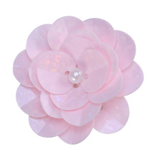 Small Applique Patch 3D Beading Flower Sequin Embroidered Lace Fabric Sew on Wedding Dress Cloth Accessory )