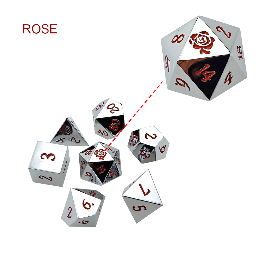 Rollooo Custom Logo Metal Dice Set 24 Colors Collection For RPG DND D&D Roleplaying Games D4 D6 D8 D10 D% D12 D20