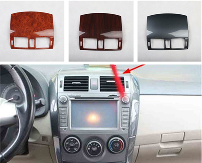 1pc ABS Carbon Fiber Or Wooden Grain Central Control Air Conditioning Outlet Decoration Cover For 2007-2012 Toyota Corolla MK10