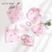 JULYS เพลงสีชมพูผ้าฝ้ายผู้หญิง 7 ชิ้นชุดนอนชุดสตรีชุดนอนชุดนอนชุดฤดูใบไม้ผลิฤดูร้อนฤดูใบไม้ร่วง Homewear ด้านบนและกางเกงขาสั้น