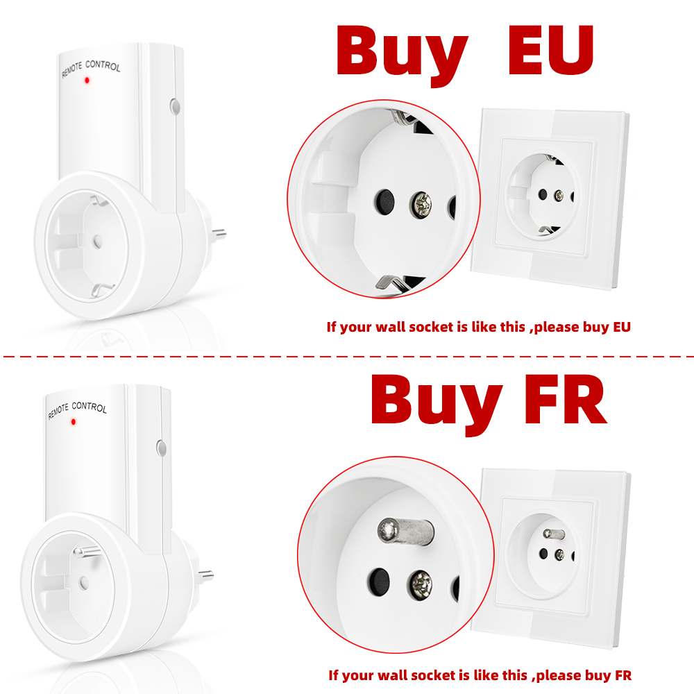 SMATRUL Wireless Remote Control smart Socket EU UK French Plug wall 433mhz Programmable Electrical Outlet Switch 220v 230v LED