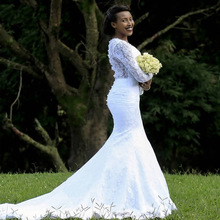 Booma White Lace Mermaid Wedding Dresses Long Sleeves Bridal Sheer Back Illusion Gowns robe de soiree