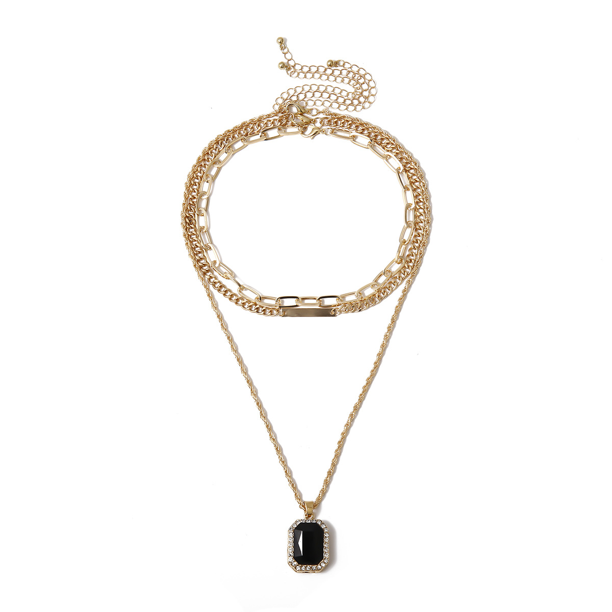 Geometric Black Resin Pendant Necklace for Women Gold Color Choker Multilayer Chains Necklaces Female 2020 Fashion Jewelry New