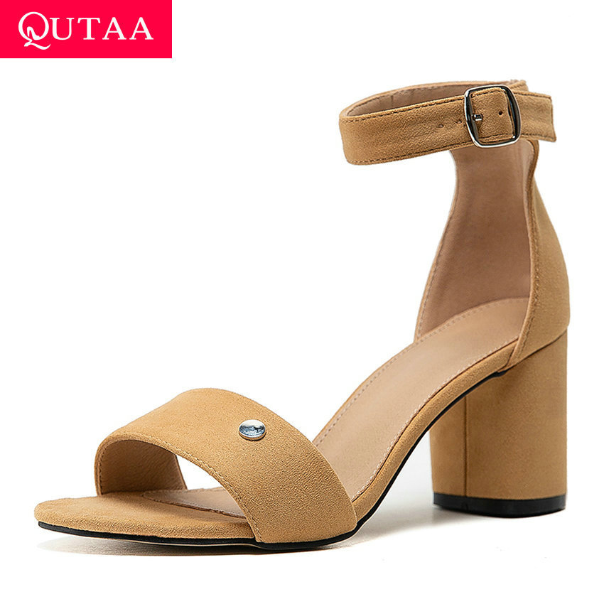QUTAA 2020 Flock Open-toed Summer Ladies Pumps Fashion Buckle Hollow Women Shoes Square High Heel All Match Sandals Size 34-43