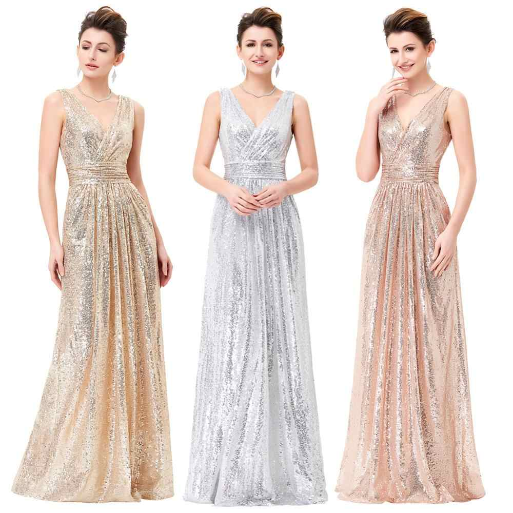 Grace Karin Avond Party Jurken Elegante Vrouwen Mouwloze V-hals Lange Maxi Formele Party Dress Shining Sequin Prom Gown Zomer