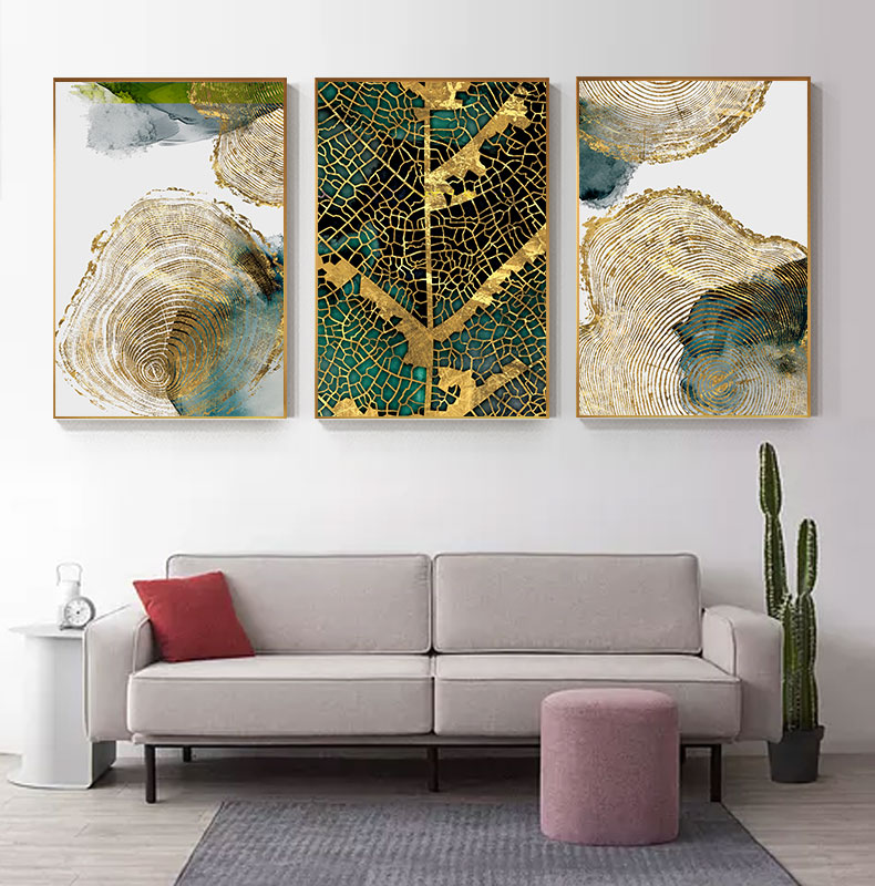 Hc717b41582b44e5994df5eadbc4a0e42P Abstract Golden Leaf Vein Painting Tableaux Big Poster Print HD Wall Art for Living Room Entrance Aisle cuadros Salon decoracion