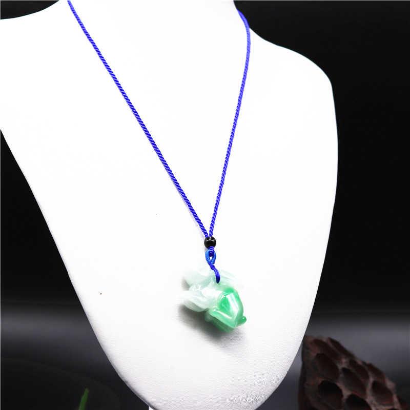 Emerald สีเขียวกระต่ายหยกแกะสลักจี้ Jadeite อุปกรณ์เสริมมือแกะสลักสร้อยคอเครื่องประดับ Man Woman Luck ของขวัญ Amulet