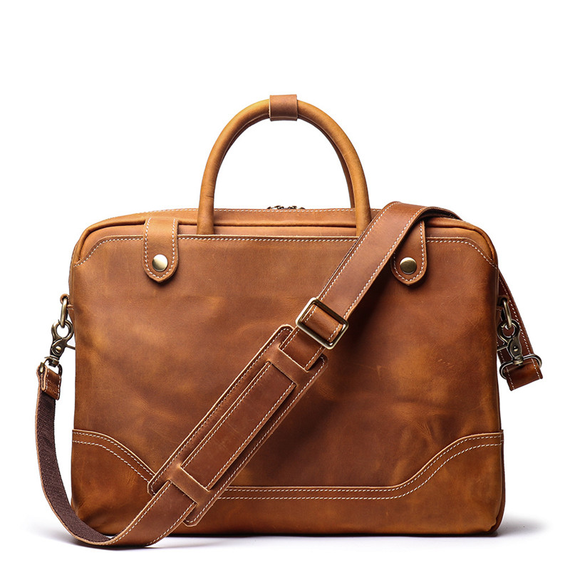 Nesitu Highend New Brown Thick Genuine Crazy Horse Leather 14'' Laptop Office Men's Briefcase Messenger Bag Portfolio M9078
