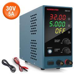 Fuente de alimentación de 30V y 5a CC, pantalla ajustable de 4 dígitos, Mini fuente de alimentación de laboratorio, regulador de voltaje HM305 para reparación de teléfonos