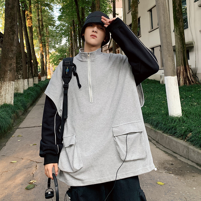 Autumn New Vest Men Fashion Solid Color Casual Sleeveless Jacket Vest Streetwear Hip Hop Loose Workwear Vest Coat Man Gilet