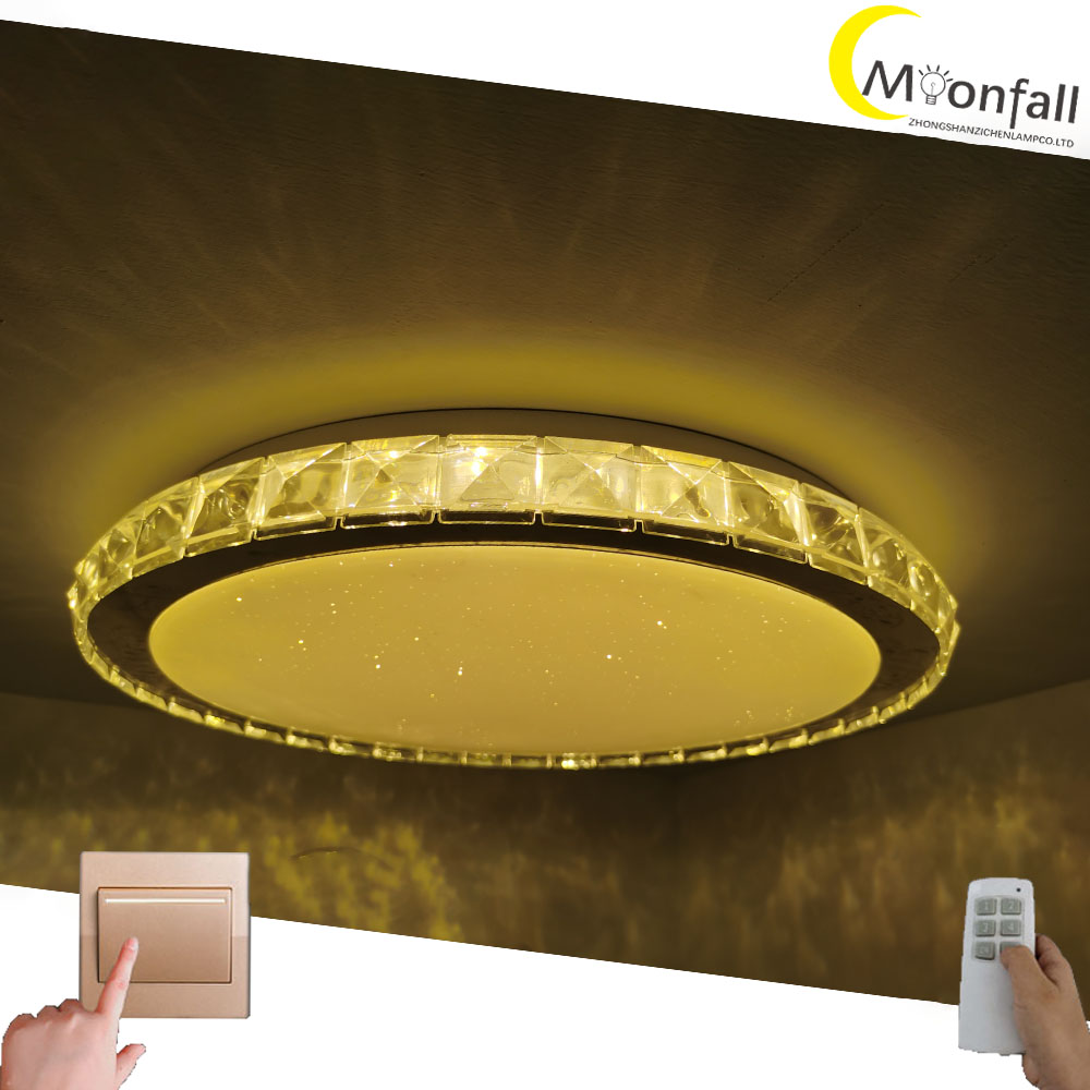 Купить с кэшбэком Moonfall- Music LED ceiling lamp Rgb flush mount round Starlight Music with Bluetooth Speaker Dimmable color changing light