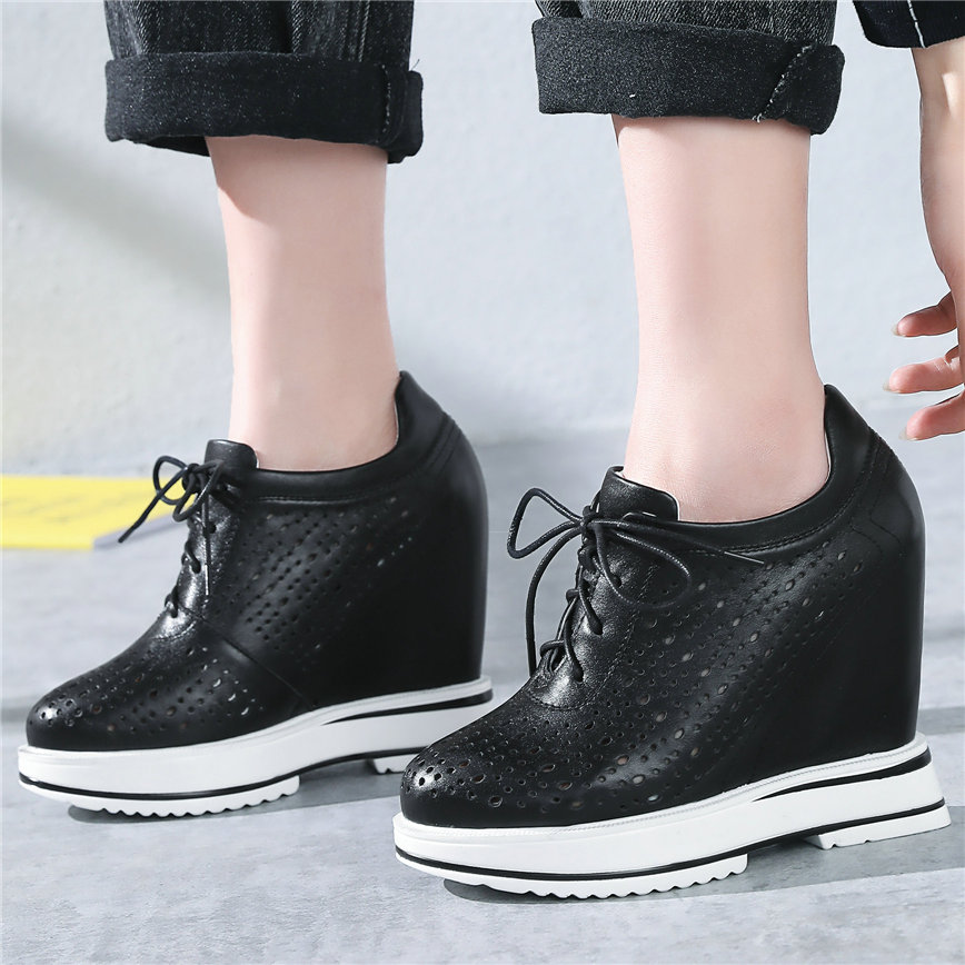 Fashion Sneakers Women Lace Up Genuine Leather Sports Gladiator Sandals Female Wedges High Heel Pumps Summer Casual Travel Shoes