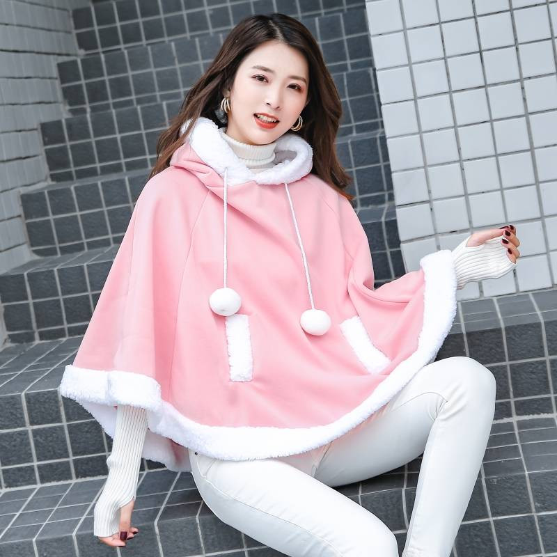 Fashion Women Kawaii Sweatshirt Japanese Warm Girls Casual Outerwear Harajuku Cloak Fleece Loose Hooded Hoodies Funny Females