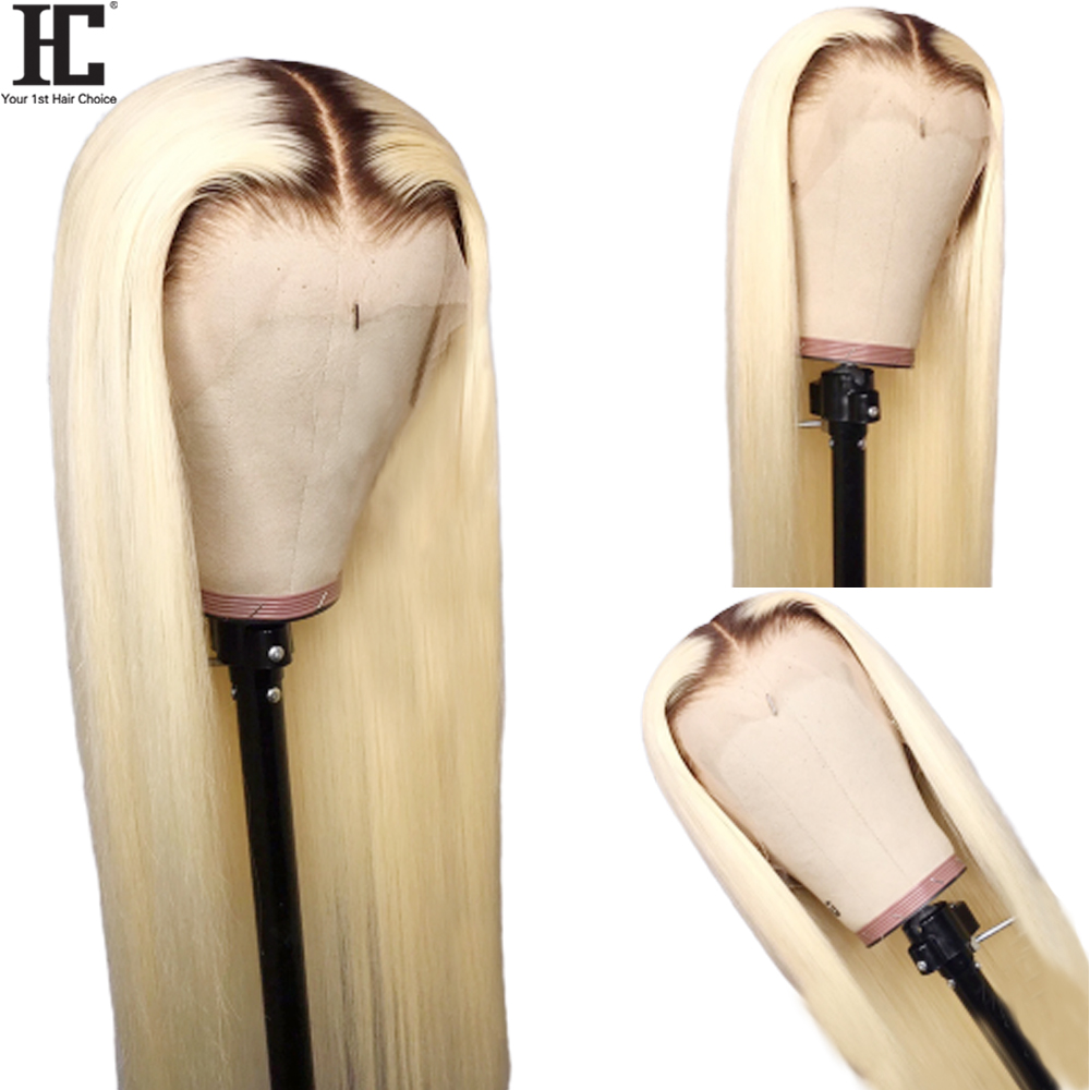 1B/613 Ombre Blonde Lace Front Human Hair Wigs 150% Glueless 1B 613 Brazilian Straight 13X4 Transparent Lace Wigs Baby Hair Remy