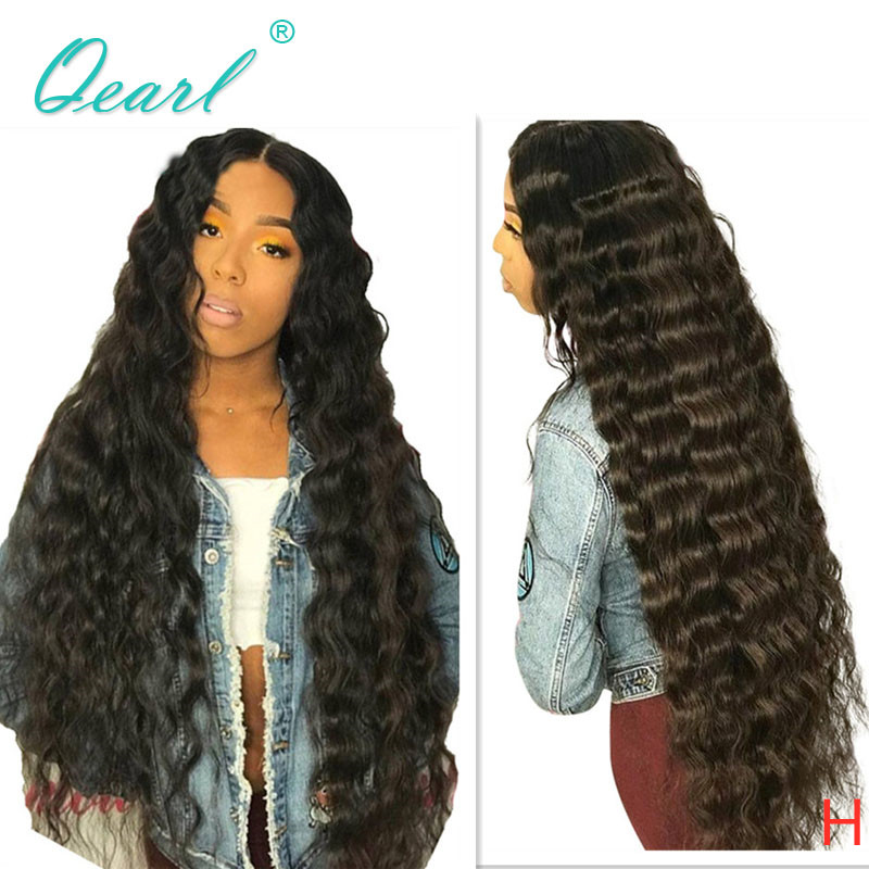 Long Water Wave Lace Front Human Hair Wigs For Women PrePlucked Black Color Brazilian Remy Hair Wig 13*4 180% Middle Part Qearl