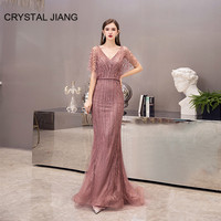 Luxury Evening Dresses Long 2020 Sexy V Neck Lace Crystal Beaded Dusty Pink Mermaid Evening Party Gown
