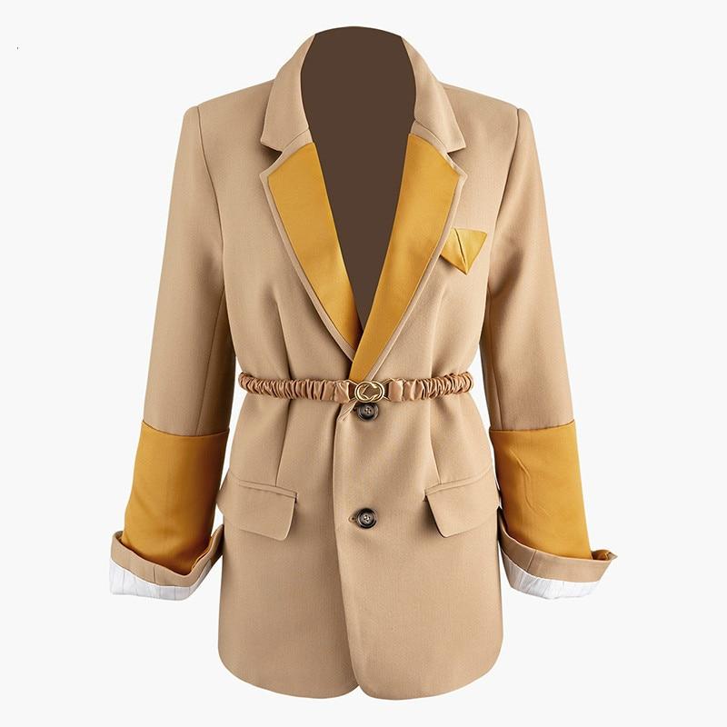 Women Contrast Color Split Temperament Blazer New Lapel Long Sleeve Loose Fit  Jacket Fashion Spring Autumn 2020 V761