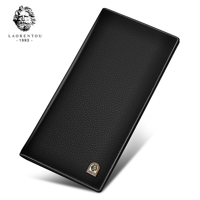 Laorentou Men Clutch Wallets Soft Cow Leather Wallet With Card Slot for Business Men New Arrival Long Purse Leather Clutch Bags