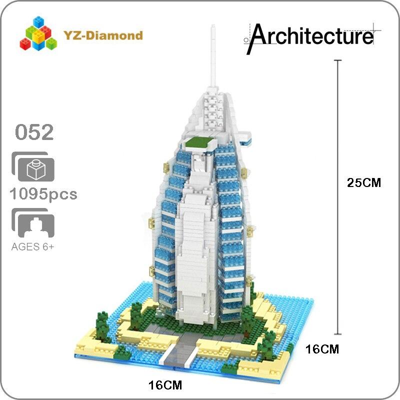 YZ 052 World Famous Architecture Burj Al Arab Hotel 3D Model Mini Diamond Building Small Blocks Bricks Toy For Children No Box