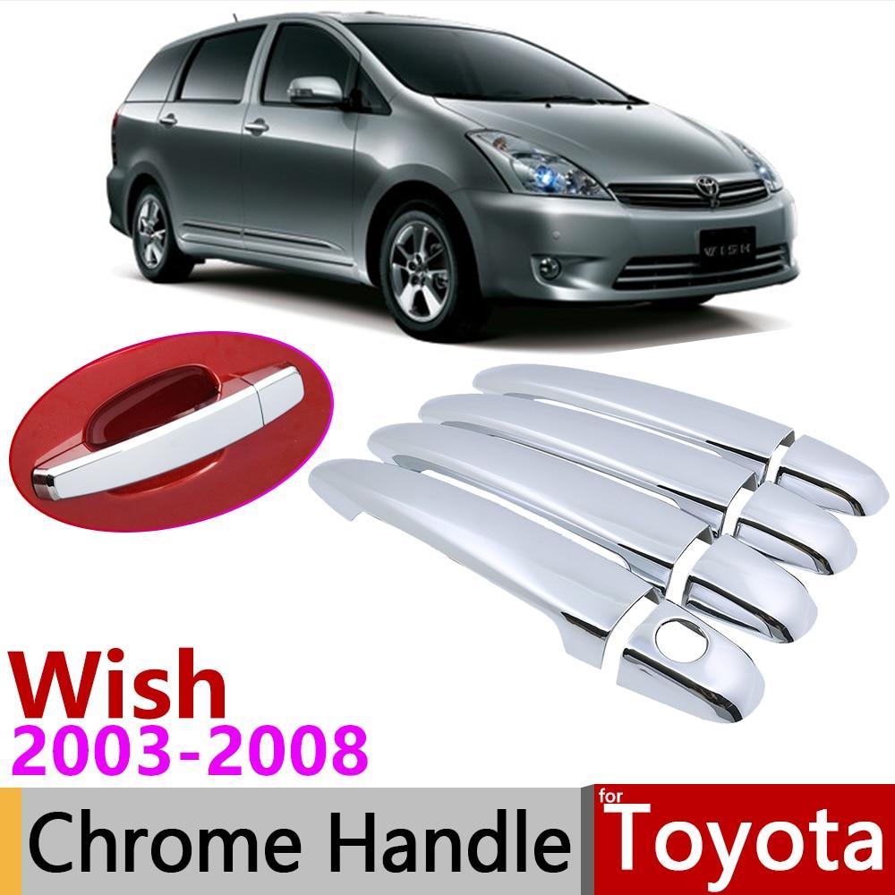 for Toyota Wish AE10 10 2003 2008 Chrome Door Handle Cover Car Accessories Stickers Trim Set of 4Door 2004 2005 2006 2007