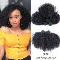 Монгольские афро кудрявые вьющиеся волосы 4B 4C натуральные черные необработанные человеческие волосы Remy пучки для наращивания 3 Продукты дл...