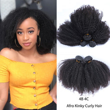 Mongolian Afro Kinky Curly Hair Weave 4B 4C Natural Black Ra