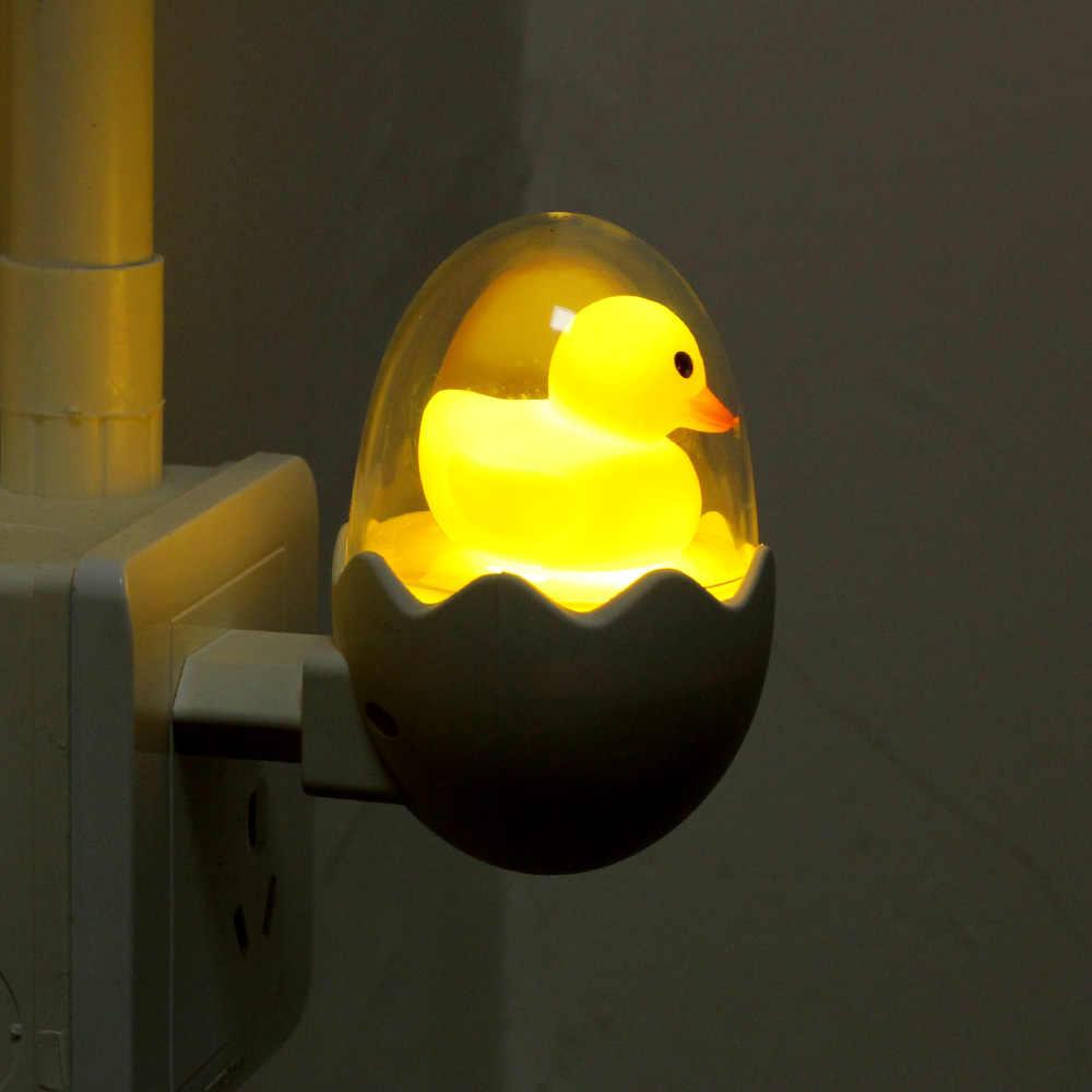 ANBLUB עיתוי LED לילה אור 110V 220V צהוב ברווז האיחוד האירופי תקע שקע קיר מנורת עם מרחוק לילדים של קריקטורה יצירתי מתנה