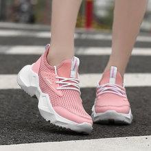 2020 nowych kobiet przypadkowi buty oddychająca platforma Sneakers kobiet nowe modne oświetlenie sneakers buty tenis feminino tanie tanio FUNMARS T Mesh (air mesh) Płytkie Stałe RUBBER Lato Niska (1 cm-3 cm) Lace-up Pasuje prawda na wymiar weź swój normalny rozmiar