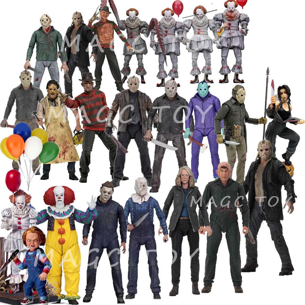 NECA 3D 금요일 제 13 회 Jason Leatherface Chainsaw Chucky Michael Myers 프레디 크루거 IT Pennywise Joker 액션 피규어 장난감 인형