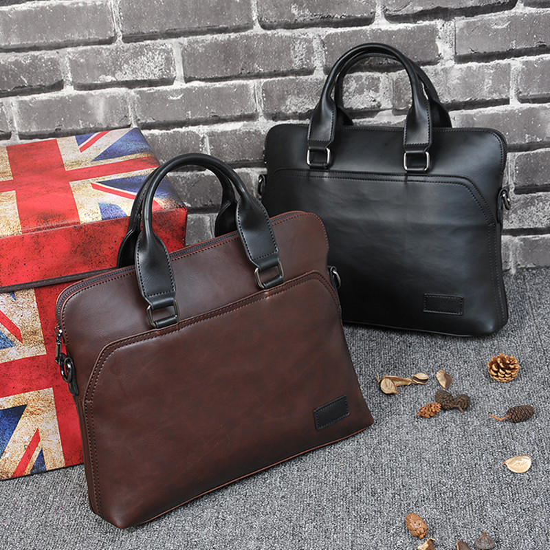 Business Office Briefcase Men Brand Leather Tote Computer Laptop Bag Male Vintage Handbag Leisure Large Shoulder Bags Brown 2019