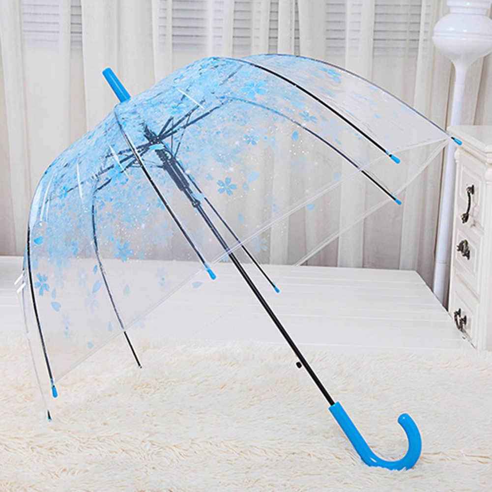 مظلة شفافة قابلة للطي على شكل قبة من زهر الكرز على شكل قفص العصافير ومطرزة على شكل زهرة مطر عصرية واقية من الشمس للطالبات شمسية ذات مقبض طويل