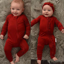 Newborn Baby Romper Boy Girl Long Sleeve Red Ruffle Zipper