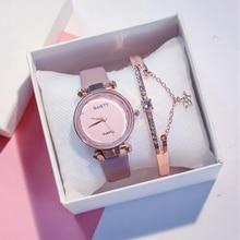 2pcs Set Luxury Brand Leather Quartz Women's Watch Ladies Fashion