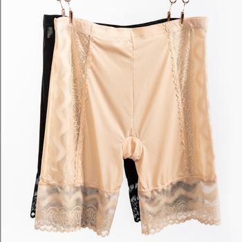 Spodenki zabezpieczające Plus Size dla kobiet koronkowy cienki lodowy jedwab modalne spodenki przeciw otarciom damskie bokserki pod spódnicą tanie i dobre opinie spandex NYLON CN (pochodzenie) Szybkie suche INVISIBLE Oddychające safety shorts Solid color High-waisted Lace Boxer shorts
