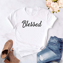 Blessed Letters Print Women Tshirt Hipster Casual Short Sleeve Tops Black White