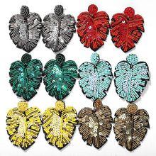 Dvacaman 6 teile/satz Handgemachte Perlen Blatt Ohrringe Bohemian Bunte Pflanzen Ohrringe Ohrringe für Frauen Weihnachten Großhandel Schmuck